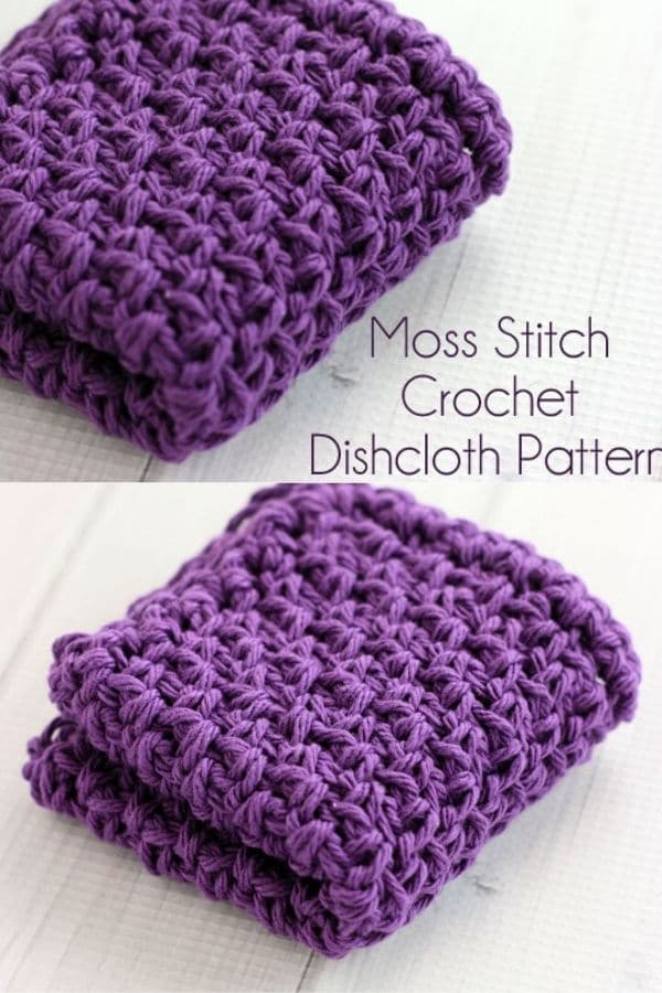 Purple moss stitch dishcloth