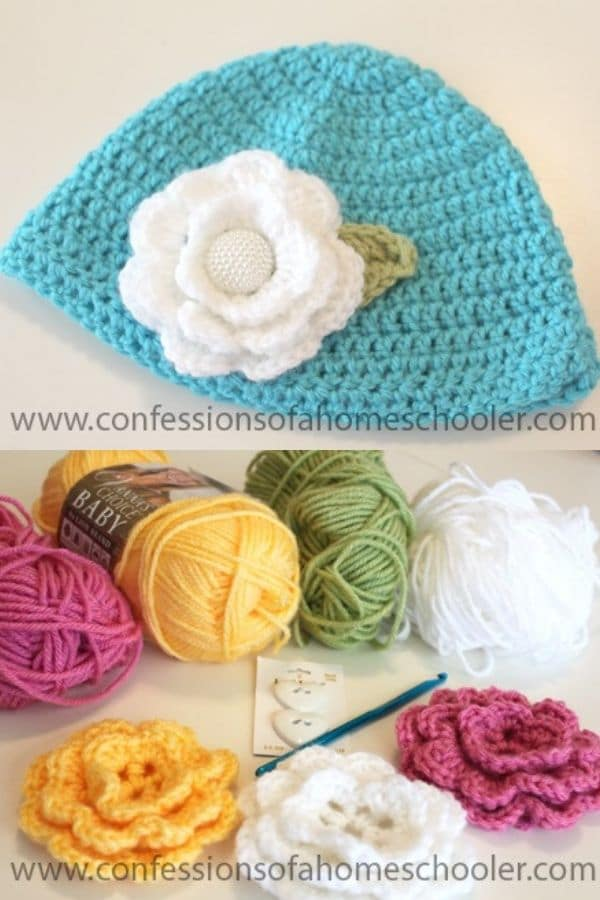Blue hat with large white crochet flower
