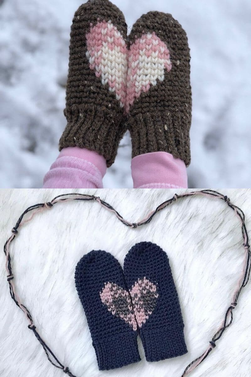 Blue and pink plaid heart mittens