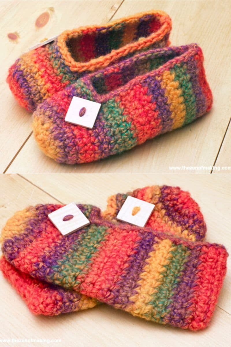 Striped rainbow pattern crochet booties pattern