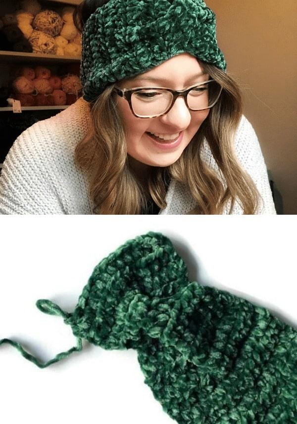 Velvet Twist Crochet Headband