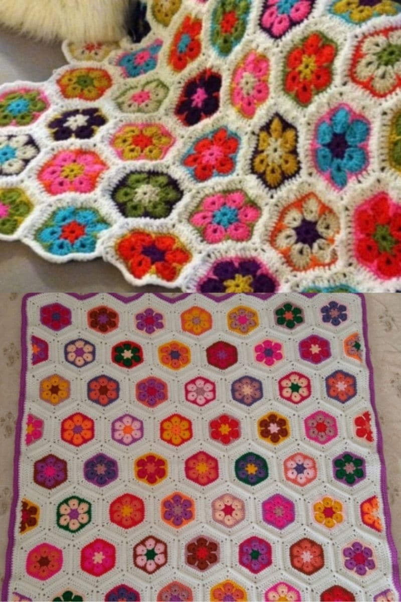 Crochet colorful afghan blanket