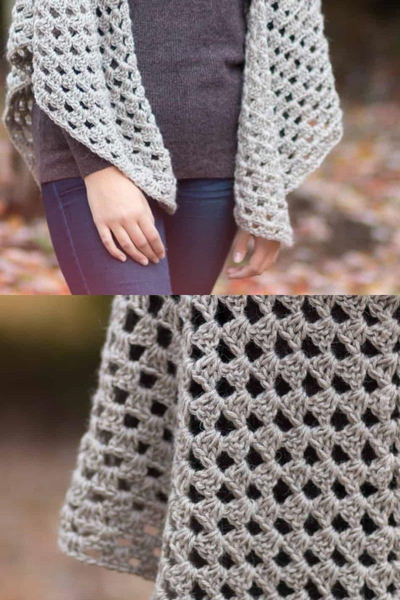 Grey granny pattern shawl