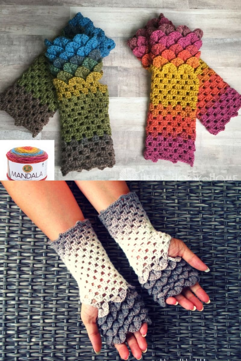Dragon scales colorful fingerless mittens