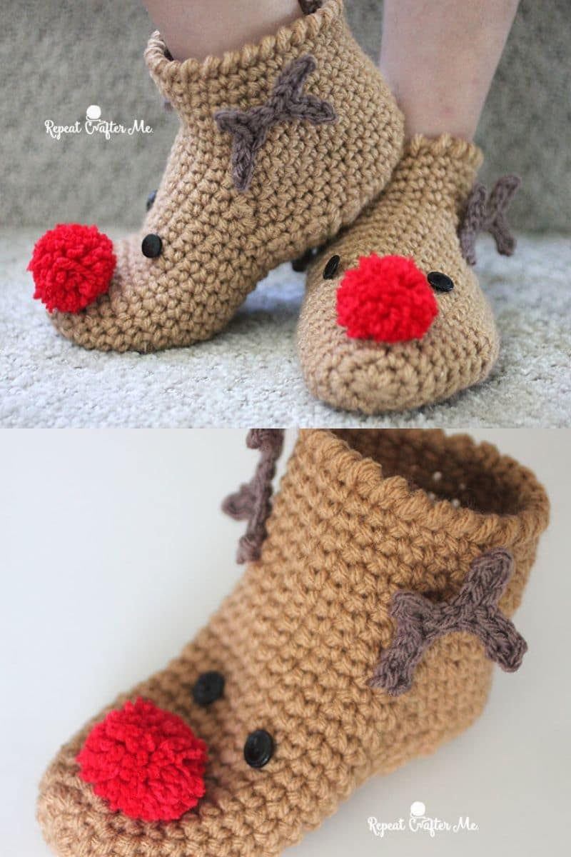 Rudolph red nosed reindeer crochet booties