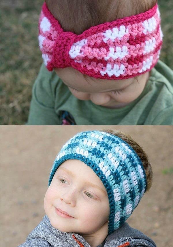 Plaid Crochet Ear Warmer