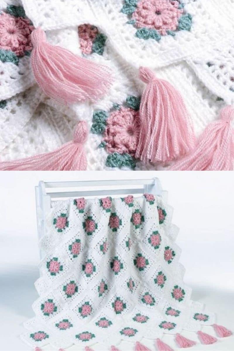 Delicate rose pattern afghan
