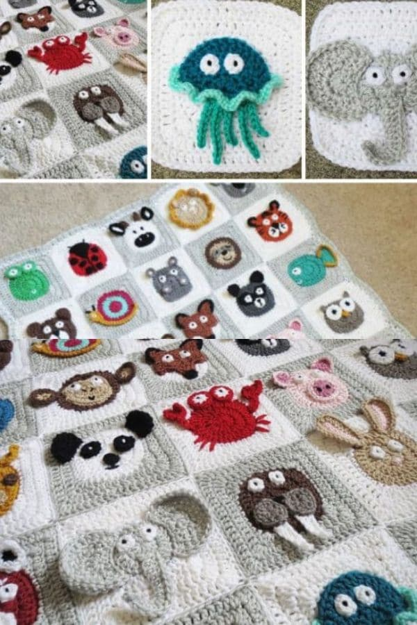 Zoo theme crochet animal blanket