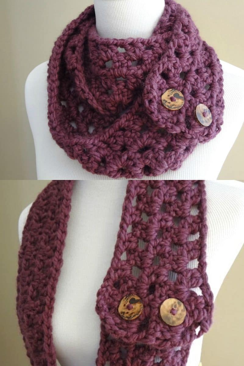 Eggplant colored button scarf