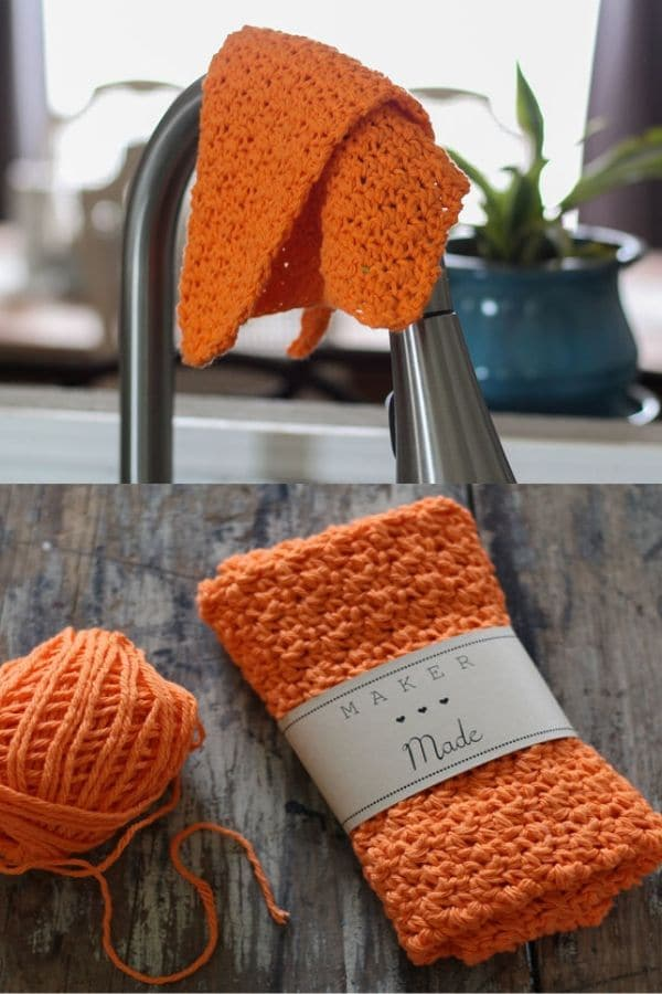 Rustic orange dishcloth on faucet