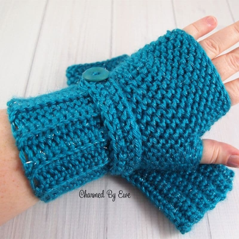 Bright blue herringbone pattern fingerless gloves
