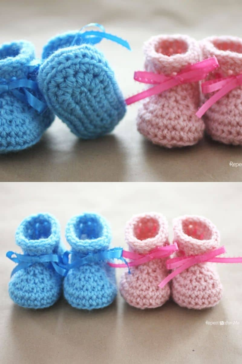 Blue and pink newborn baby crochet slippers patterns