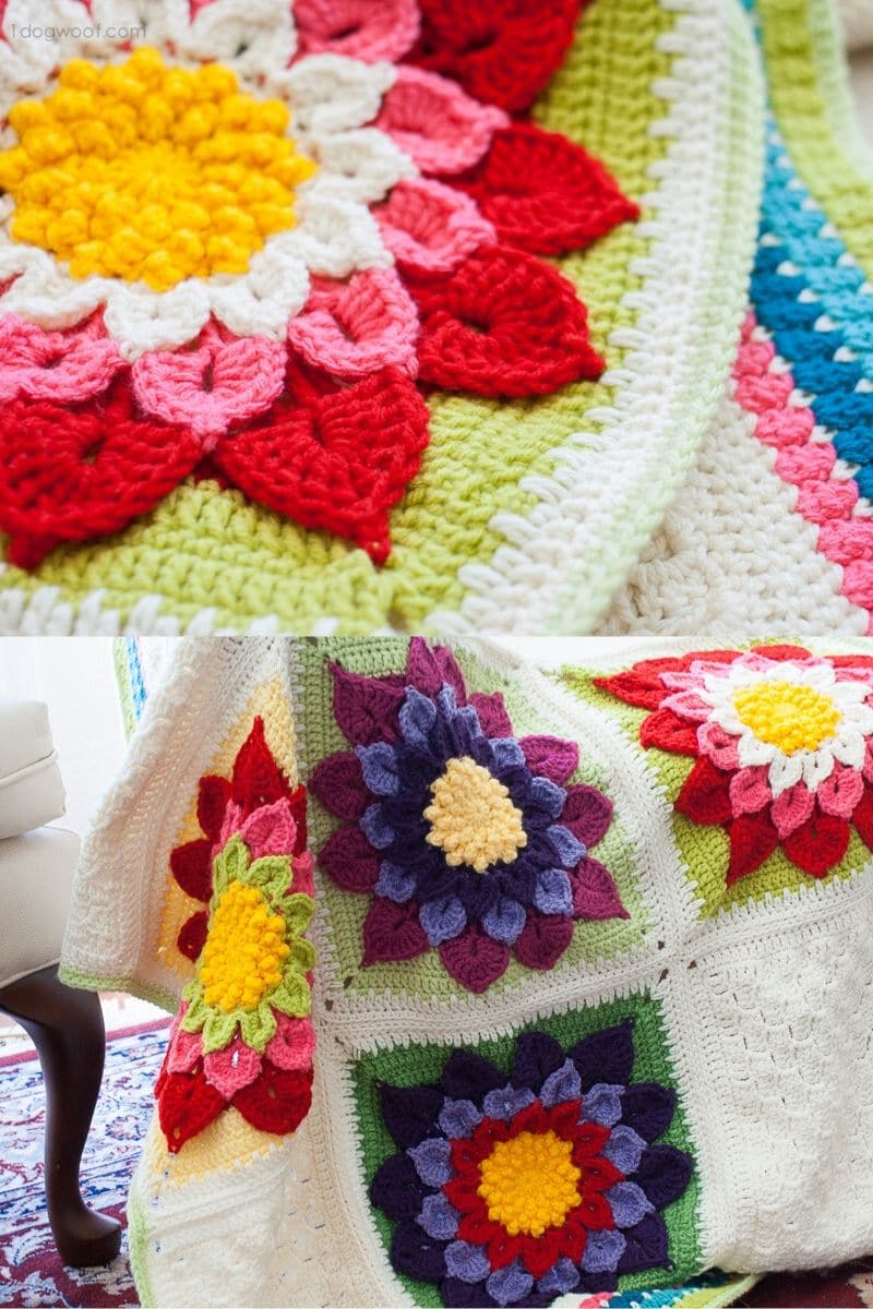 Large colorful flower crochet afghan