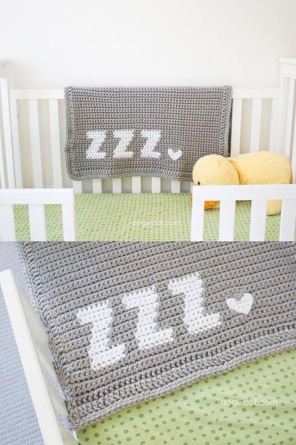 Grey blanket with zzz's