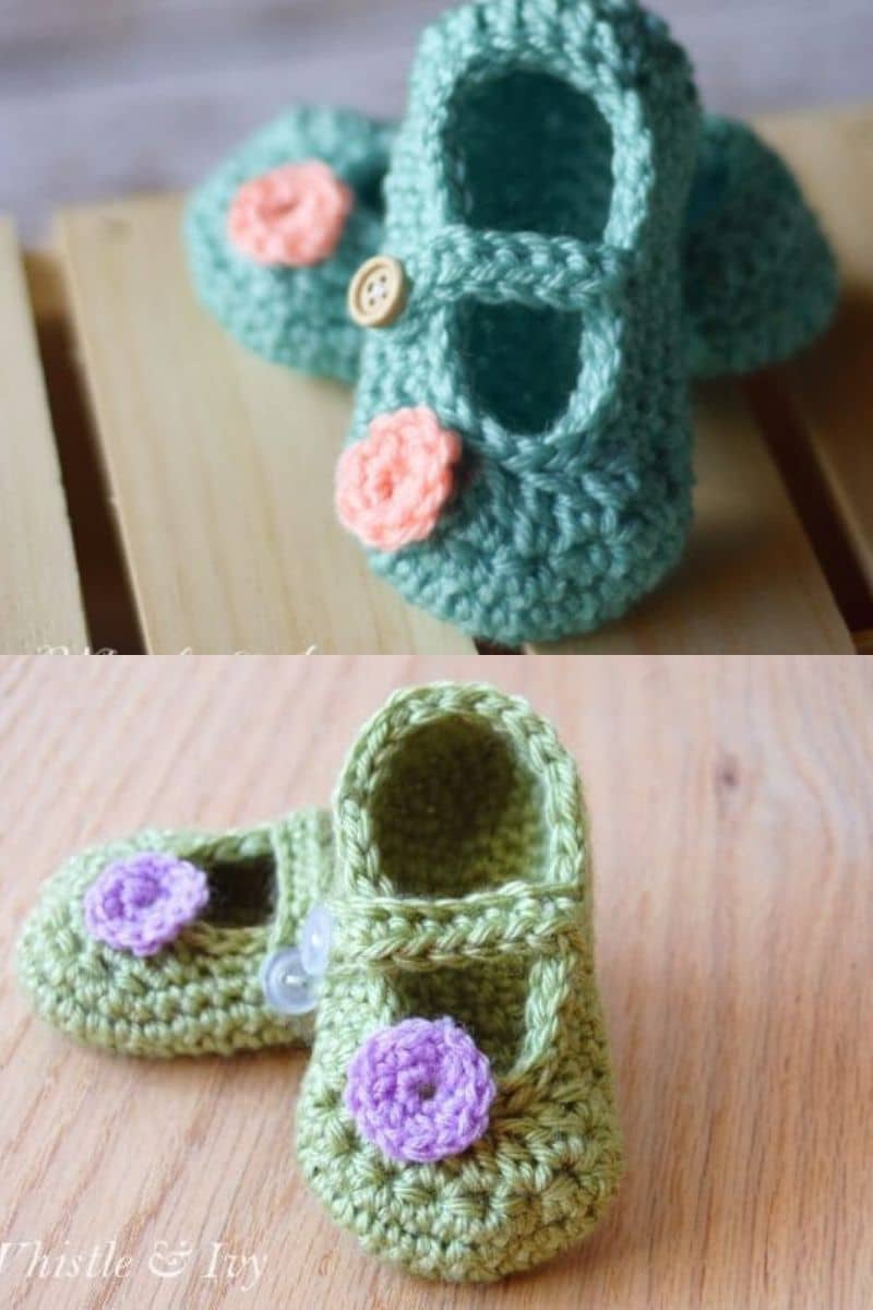 Blue and green mary jane booties with flower