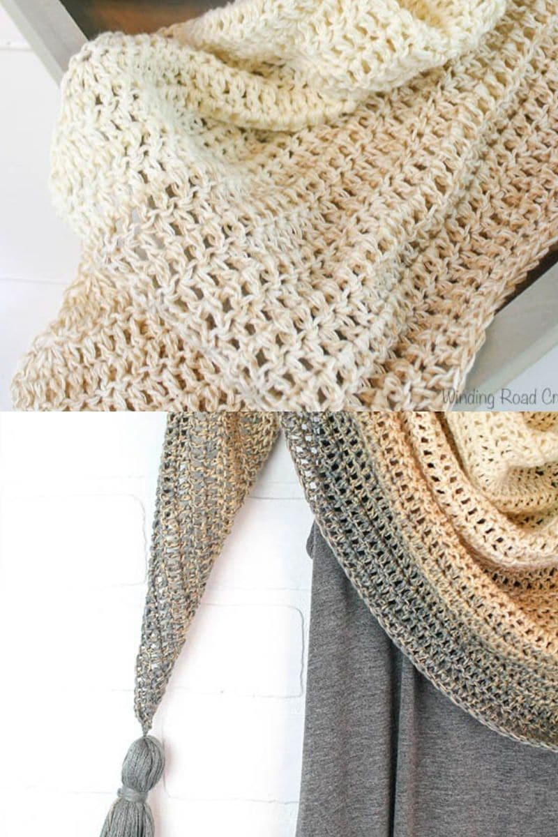 Tan and brown ombre triangle shawl