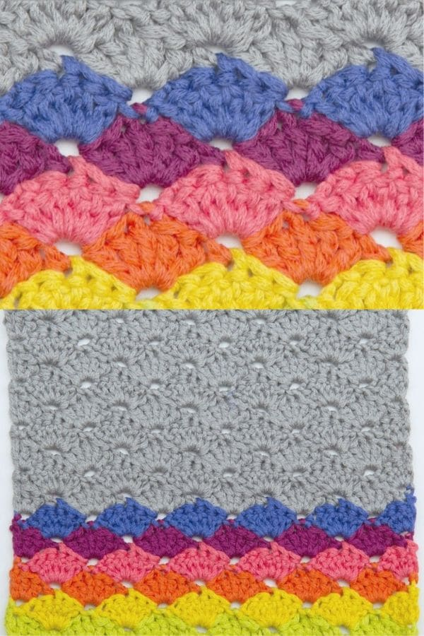 Colorful shell pattern crochet dishcloth