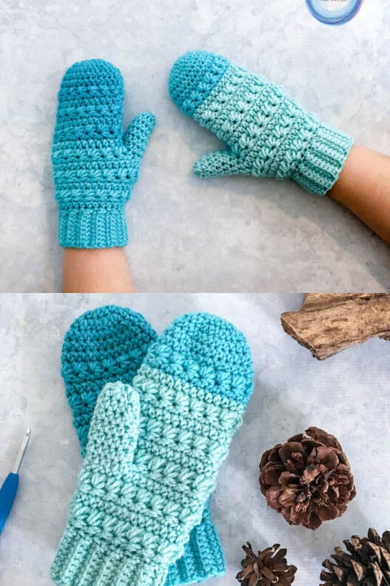 Blue ombre snow drops mittens