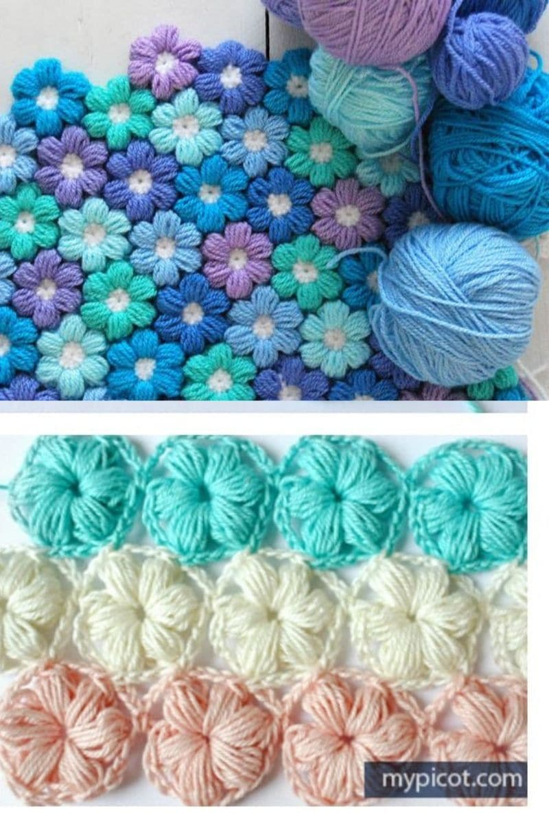 Puff stitch flower blanket in blue and purple