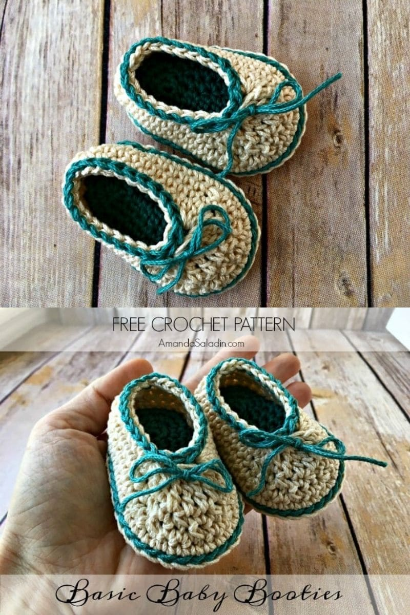 Ivory and teal basic baby booties with lace tie