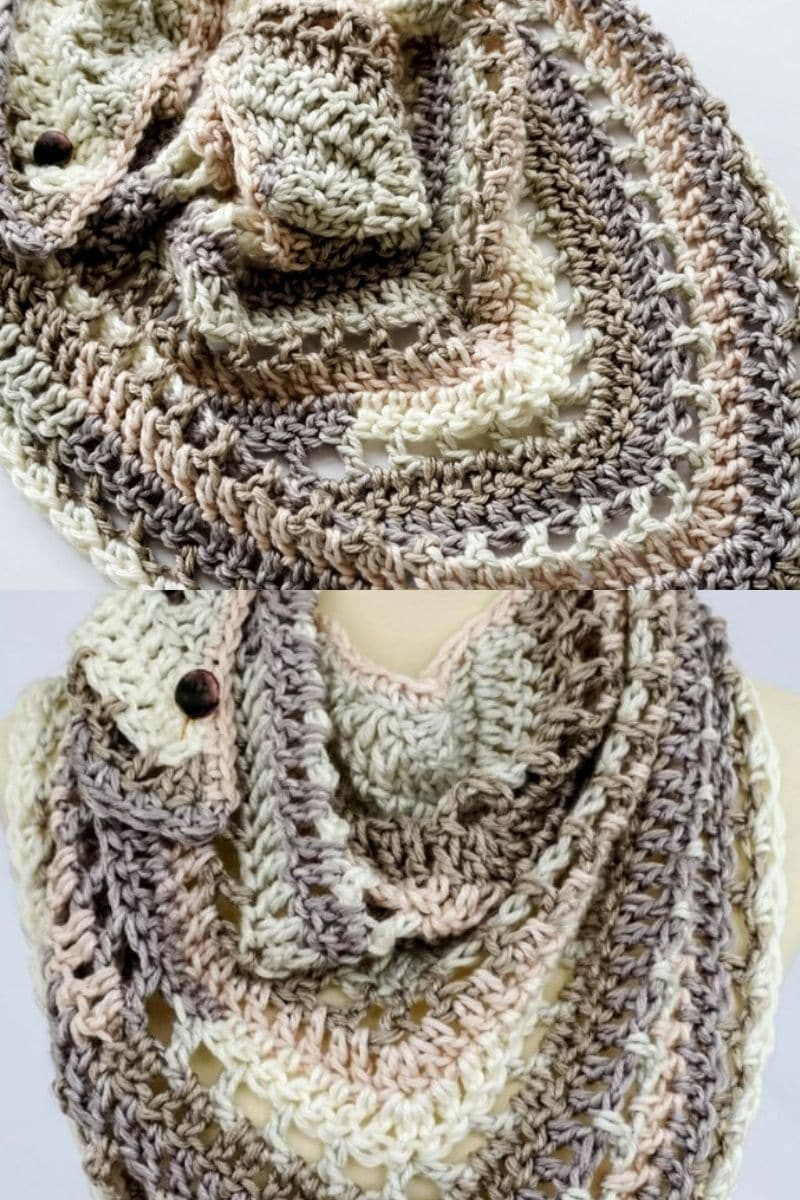 Brown and ivory cowl with button accent
