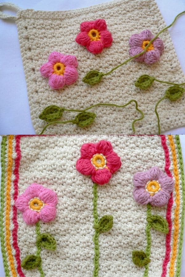 Flower garden crochet dishcloth