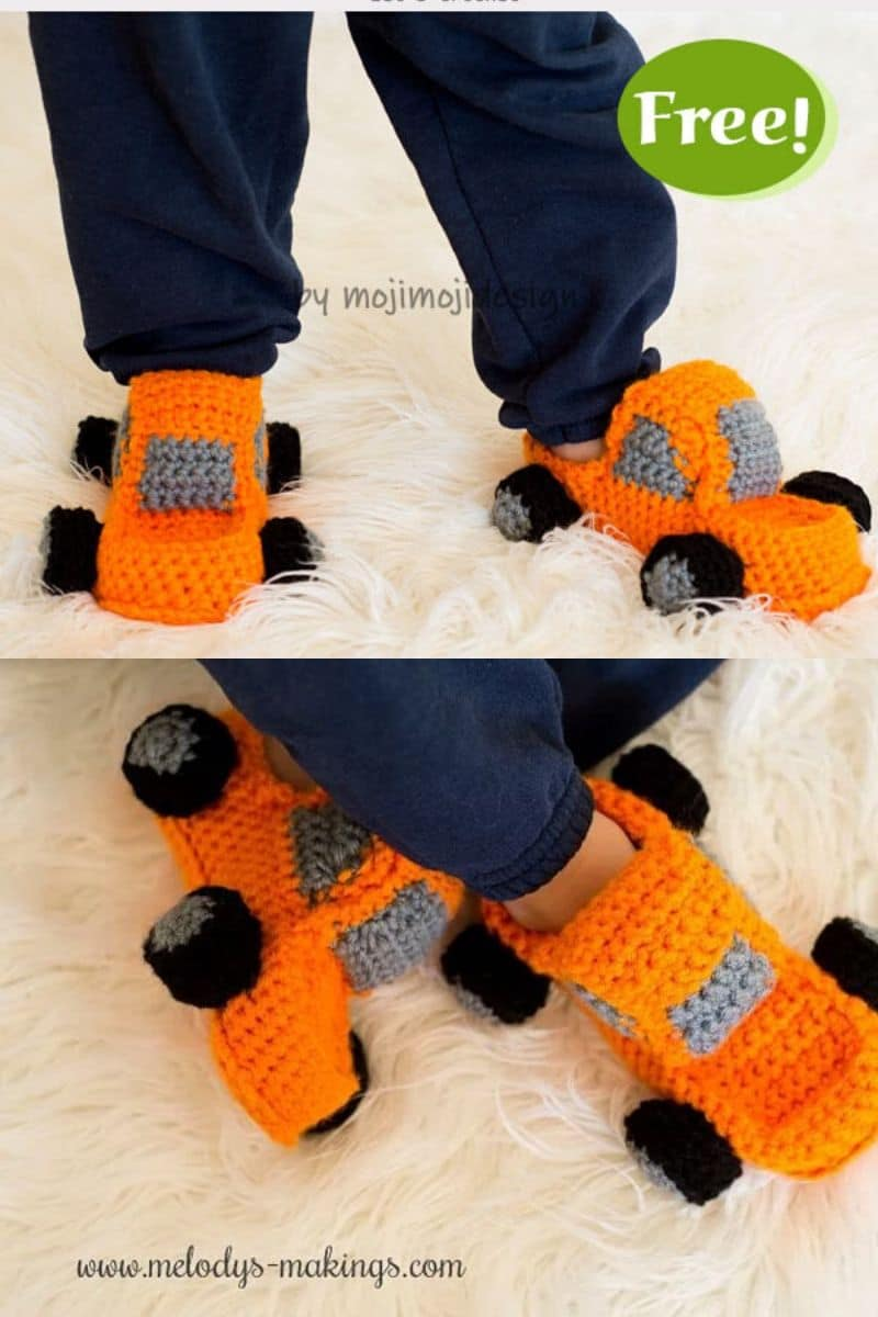 Orange crochet monster truck booties