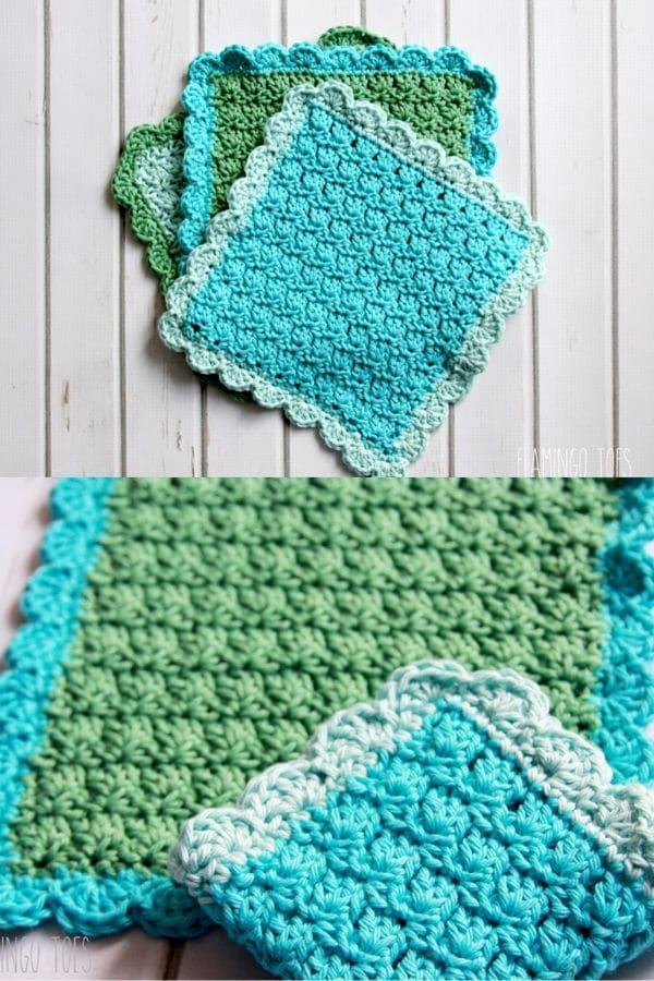 Green and teal scallop edge dishcloth