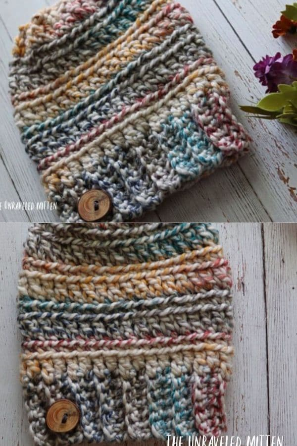Earth tone multi color beanie with a button accent