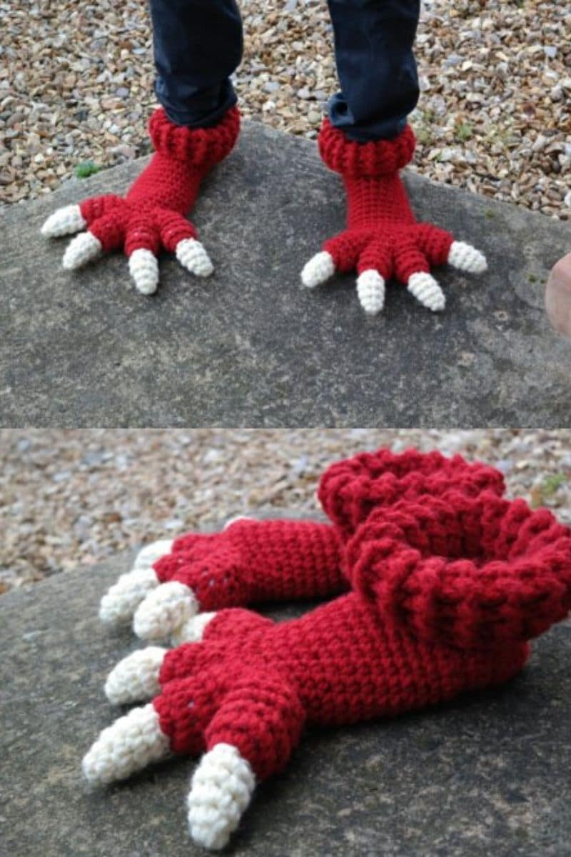 Red monster crochet slippers