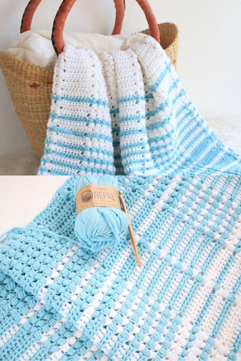 Blue and white striped afghan