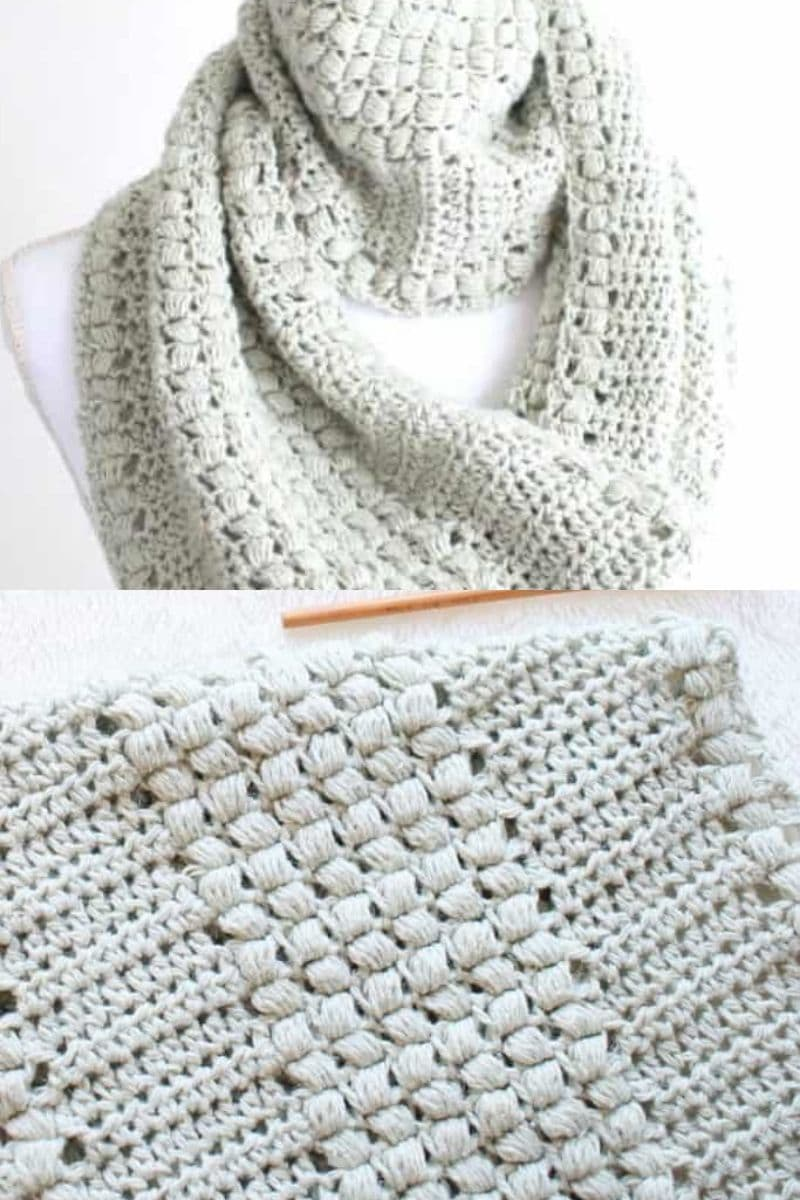 Grey puff stitch cowl patterns