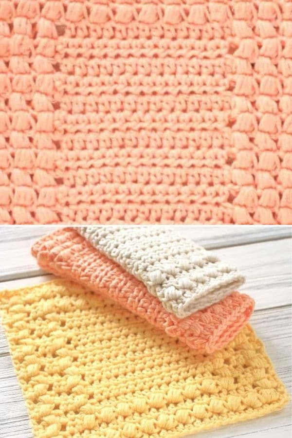 Square pattern peach and yellow dishcloths