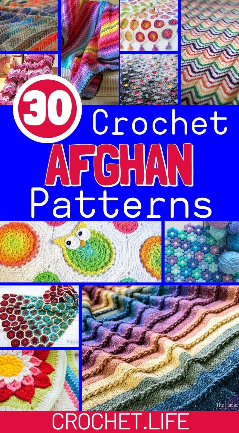 Collage of crochet afghans in bright colors