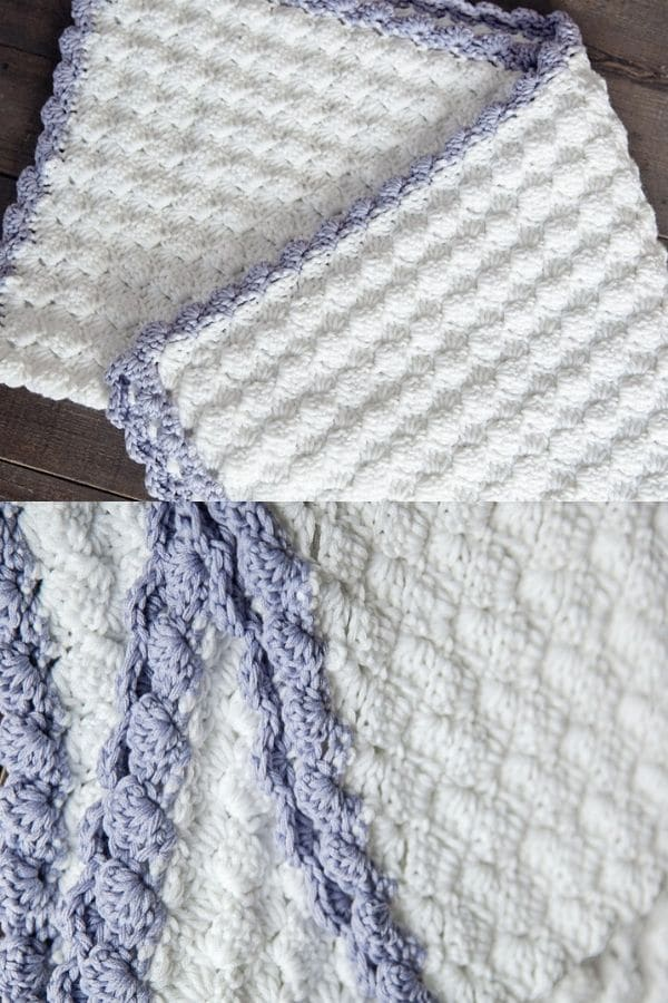 Blue and white striped baby blanket