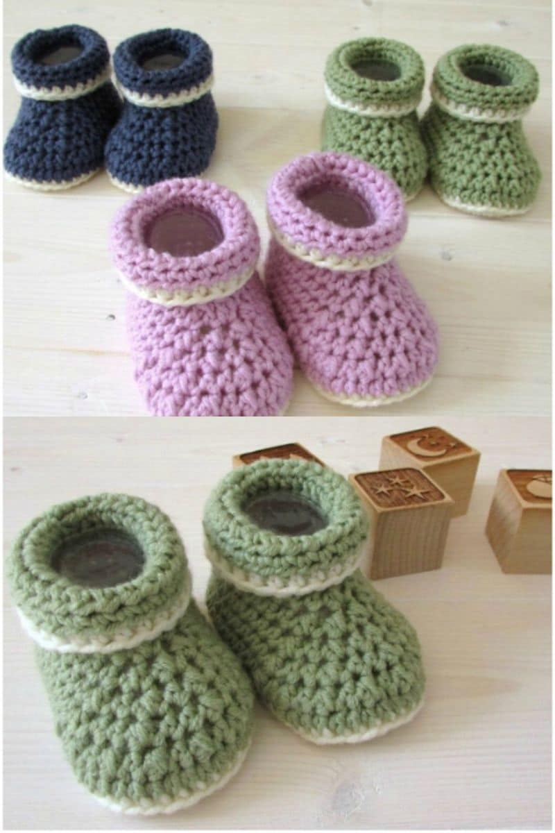 Blue green and purple cuffed baby booties