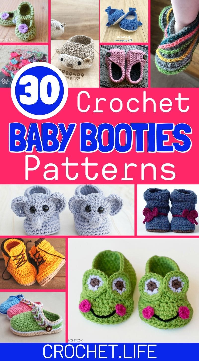 Baby booties patterns collage picture