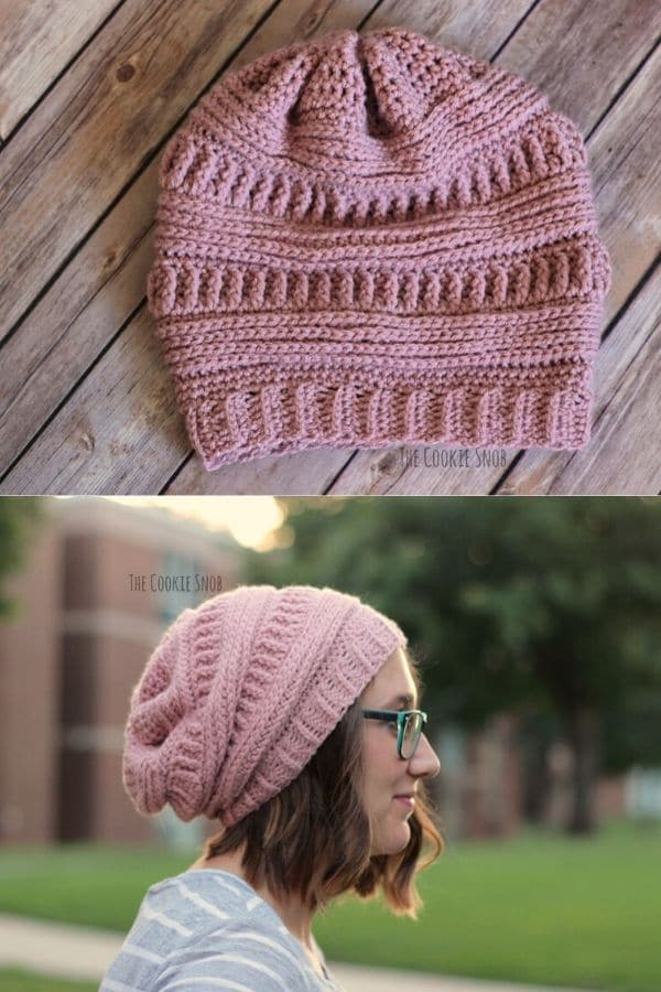 Pink slouchy beanie