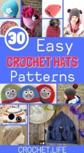 Collage of crochet hat patterns