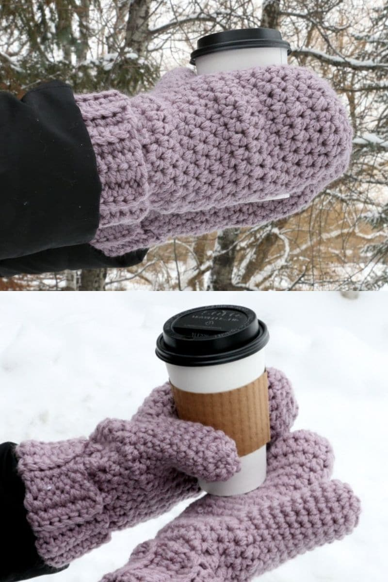 Purple beginner stitch mittens with wide cuff