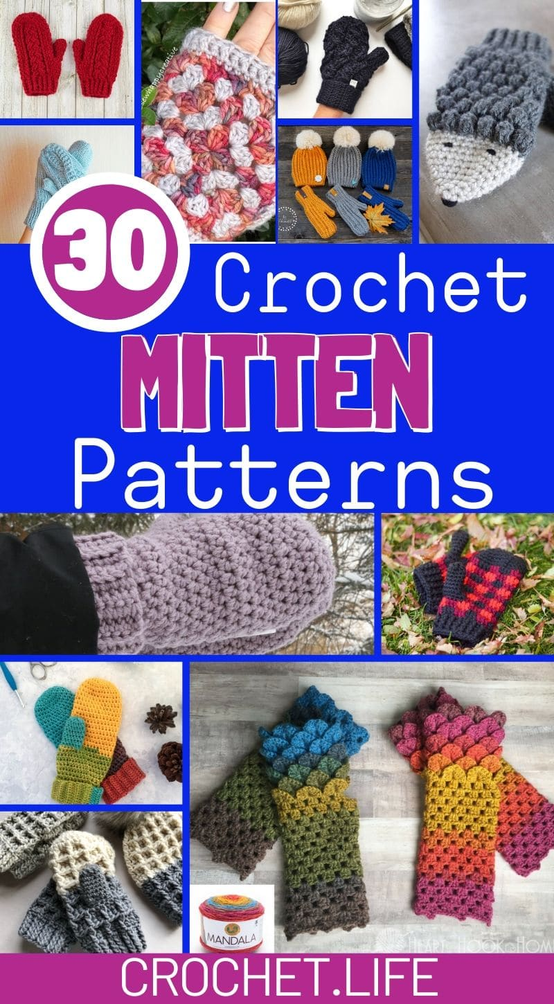 Collage of crochet mittens