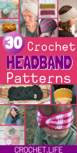 Collage of Ear Warmer and Headband Crochet Patterns