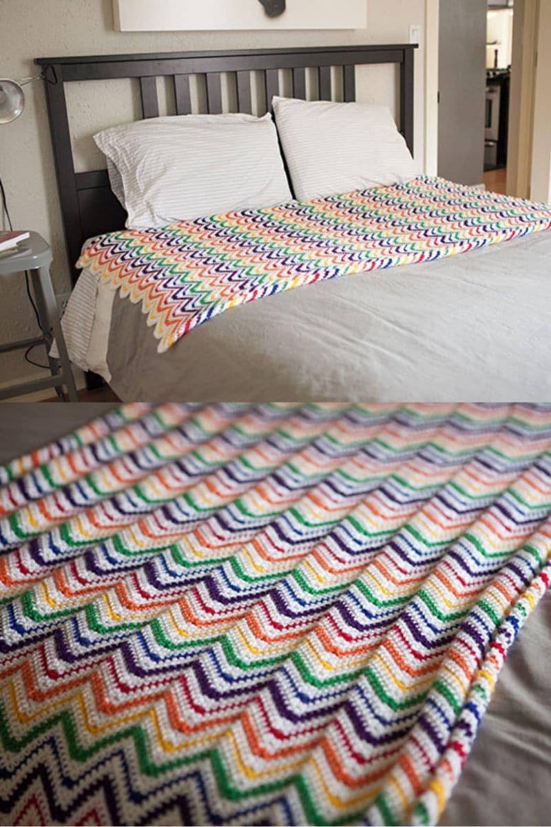 Rainbow zig zag crochet blanket