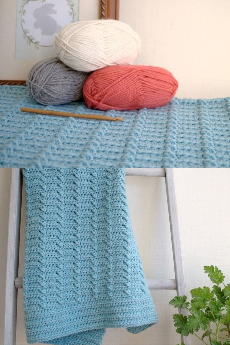 Rippled blue blanket