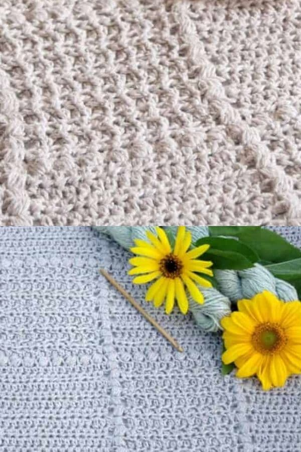 Blue and grey square granny patch crochet blanket
