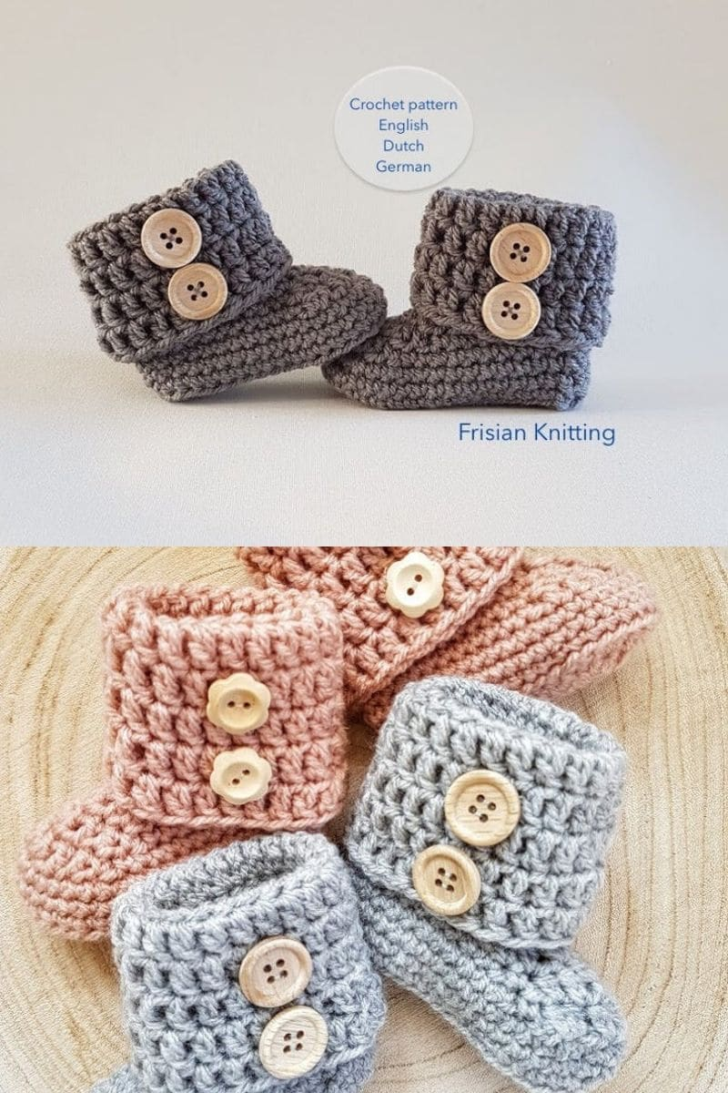 Cuffed and buttoned crochet boots in grey