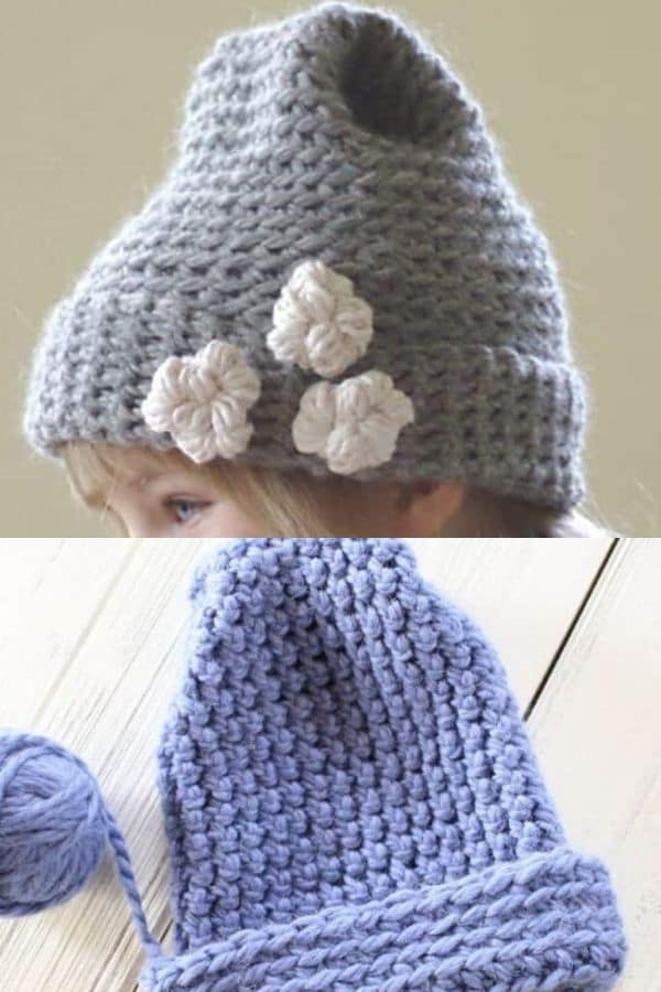 Bulky crochet hat with flowers and wide brim