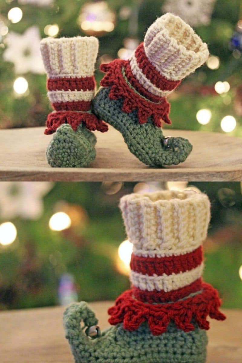 Crochet elf booties