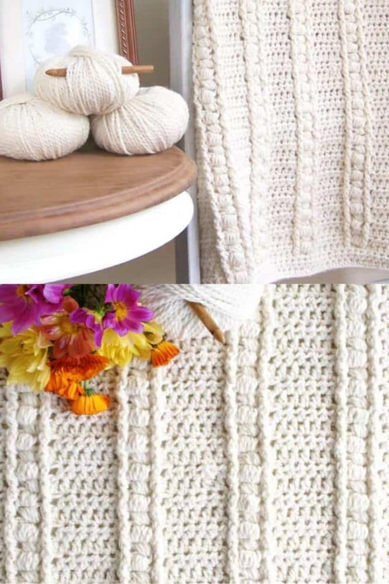 Bulky white cabled crochet pattern
