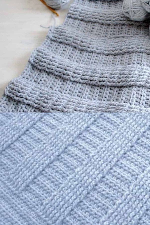 Ribbed blue crochet blanket